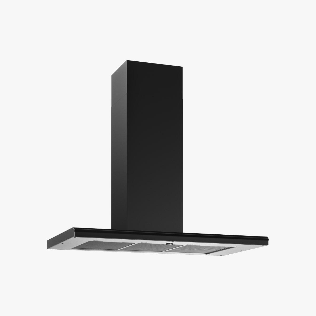 Produktbild på köksfläkt Intro 90 cm i svart utförande.