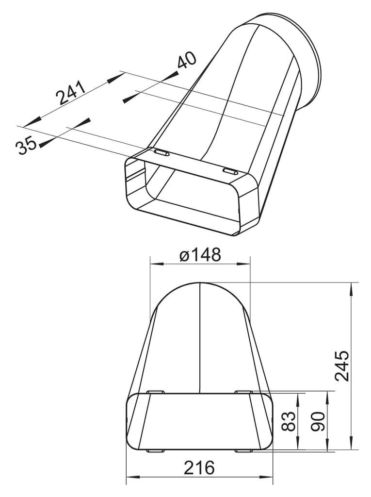 Slutstycke SF-VEST 150, galvaniserad aluminium