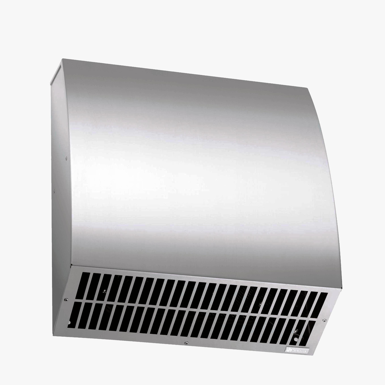 Produktbild på fasadhuv tillverkad i rostfri plåt.