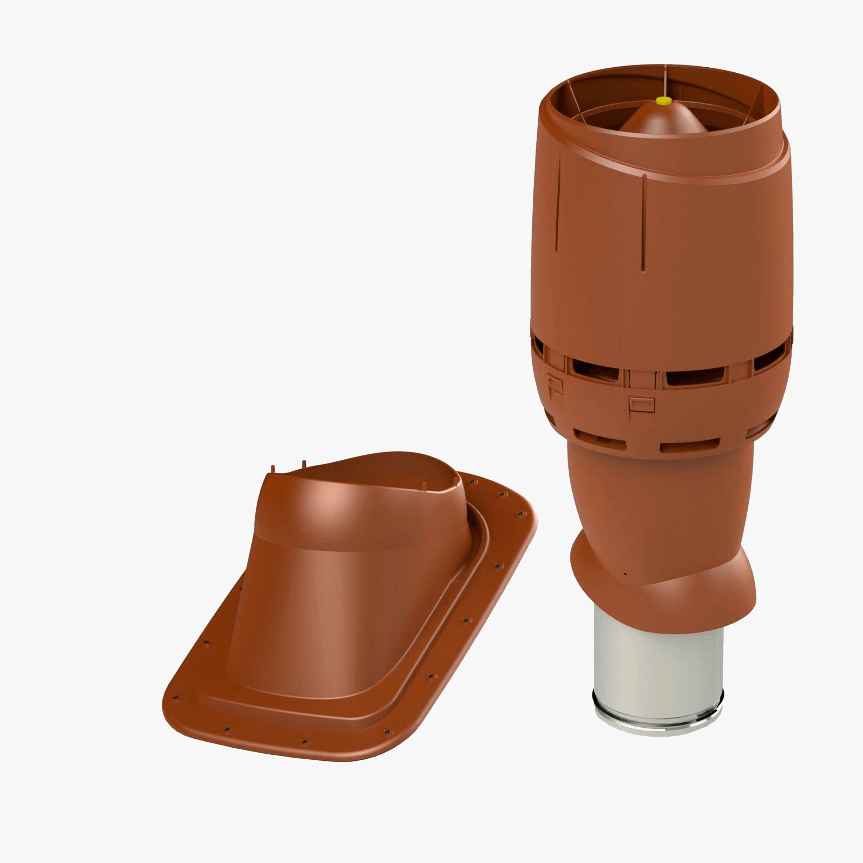 Produktbild på frånluftshuven Vilpe FKH 160P för slätt plåt- eller papptak i tegelrött utförande.