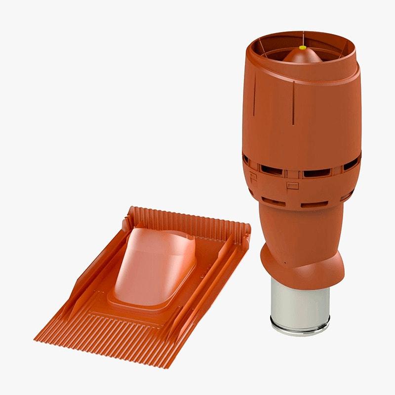 Produktbild på frånluftshuven Vilpe FKH 160P universal i tegelrött utförande.