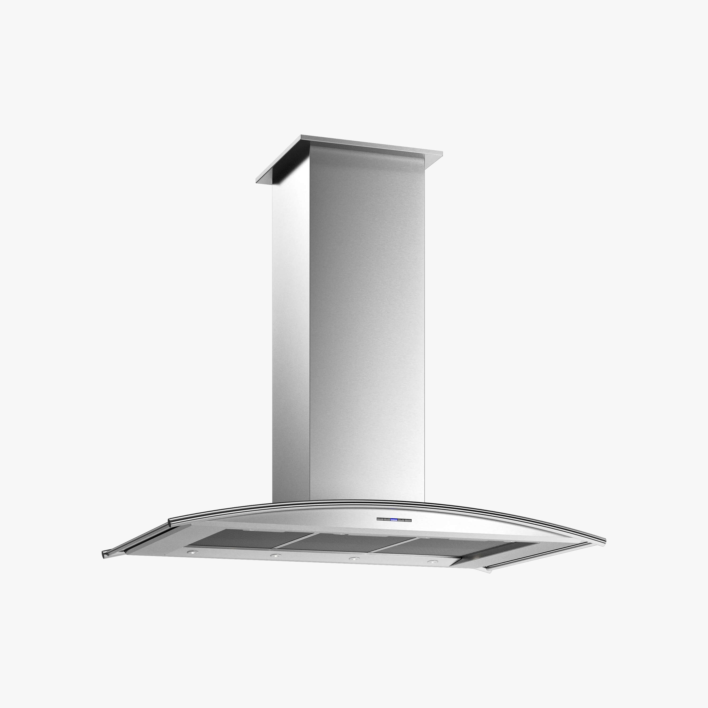 Produktbild på frihängande köksfläkten Arcad i rostfritt utförande från Fjäråskupan.
