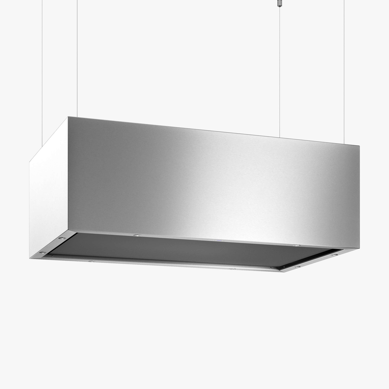 Produktbild på frihängande köksfläkten Pendel i rostfritt utförande från Fjäråskupan.