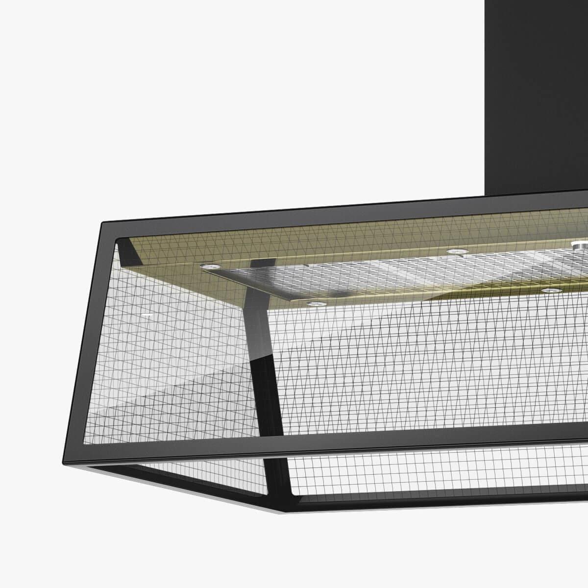 Detaljer på frihängande köksfläkten Prisma i svart med undersida i mässing.