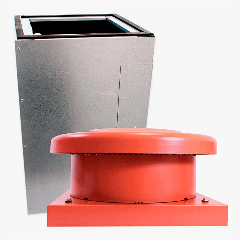 Produktbild på paket med takgenomföring och takmotorn FK ECo Flow i tegelrött utförande.
