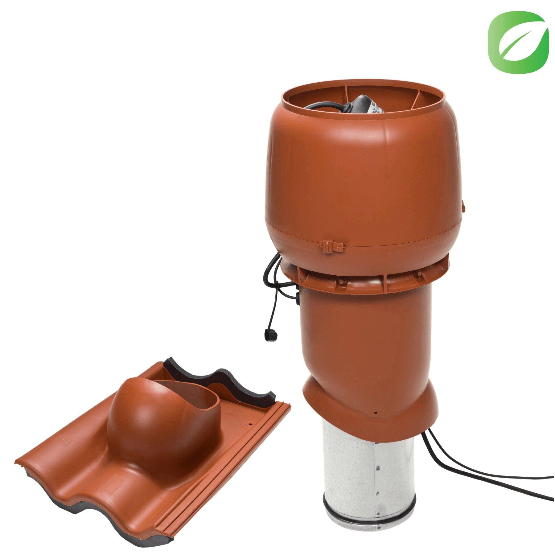 Produktbild på takmotorn Vilpe FKT220P för tvåkupig betongbanna i tegelrött utförande.