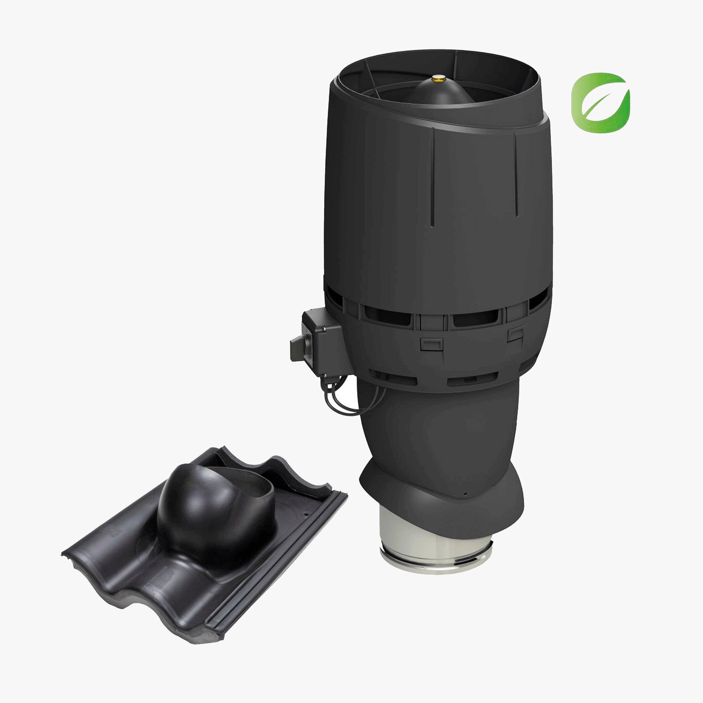 Produktbild på takmotorn Vilpe FKT-ECO 160P för tvåkupig betongbanna i tegelrött utförande.