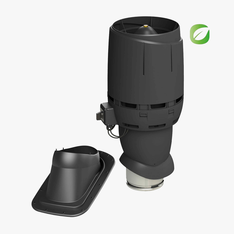 Produktbild på takmotorn Vilpe FKT-ECO 160P för slätt plåt- eller papptak i svart utförande.