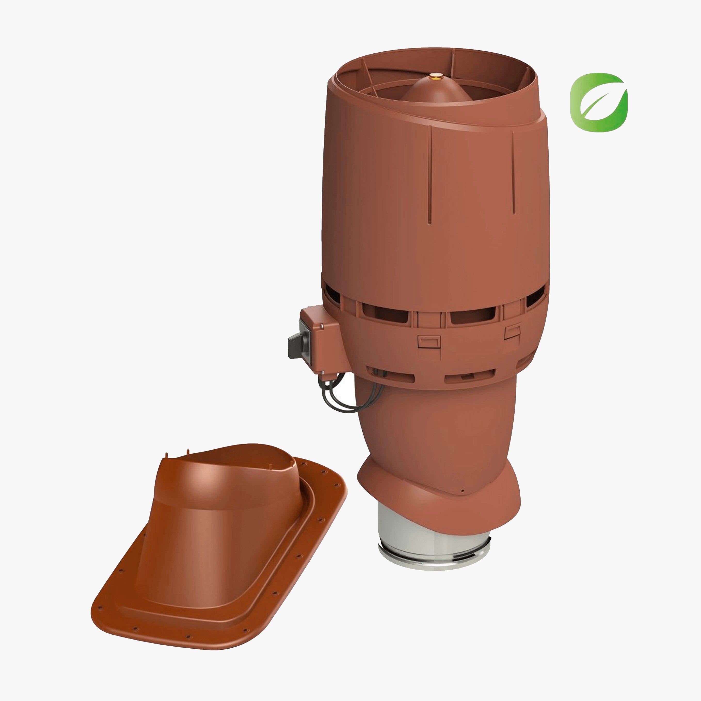 Produktbild på takmotorn Vilpe FKT-ECO 160P för slätt plåt- eller papptak i tegelrött utförande.