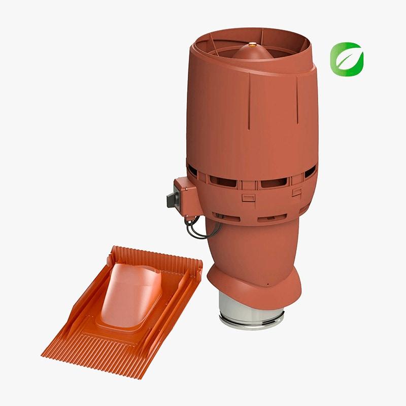 Produktbild på takmotorn Vilpe FKT-ECO 160P universal i tegelrött utförande.