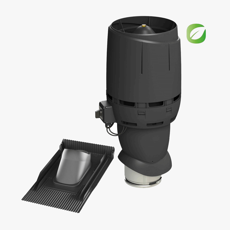 Produktbild på takmotorn Vilpe FKT-ECO 160P universal i svart utförande.