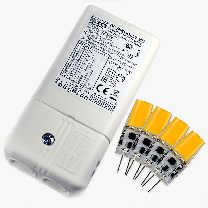 Konverteringskit - LED-driver + 4 lampor (Begränsad dimmerfunktion)
