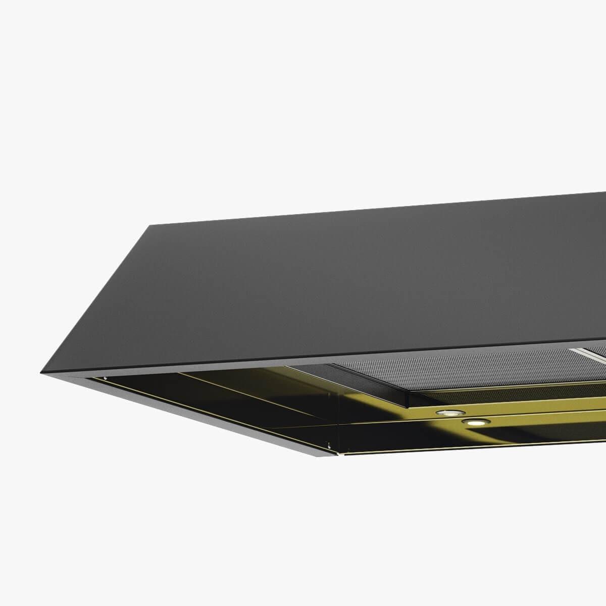 Detaljer på underbyggnadsfläkten Accent i svartoxiderad metall med undersida i mässing.