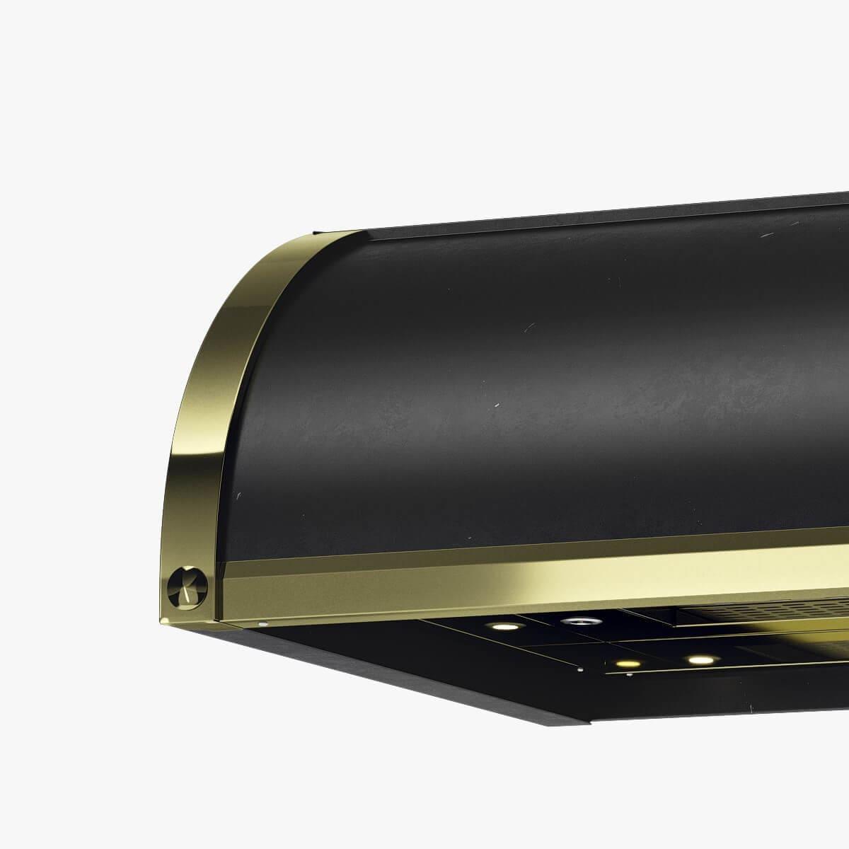 Detaljer på underbyggnadsfläkten Stil i svart med undersida och detaljer i mässing.