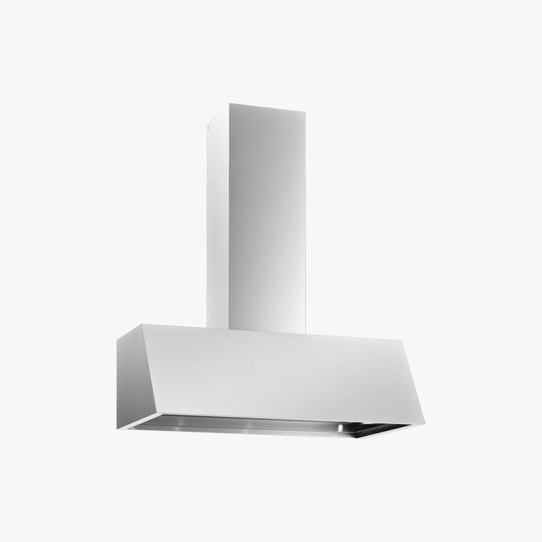 Produktbild på vägghängda köksfläkten Aero i rostfritt utförande från Fjäråskupan.