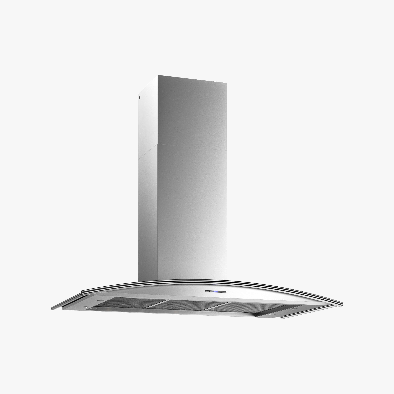 Produktbild på vägghängda köksfläkten Cupol i rostfritt utförande från Fjäråskupan.