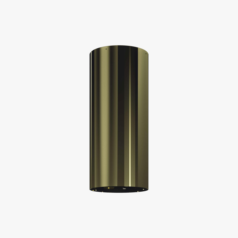 Produktbild på vägghängda köksfläkten Cylindra i mässingutförande från Fjäråskupan.
