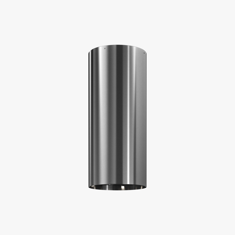 Produktbild på vägghängda köksfläkten Cylindra i rostfritt utförande från Fjäråskupan.