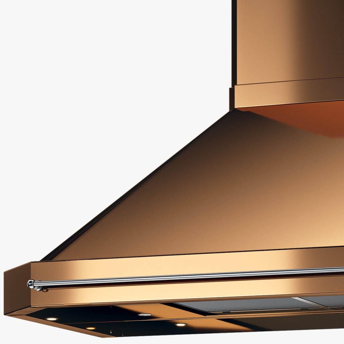 Detaljer på vägghängda köksfläkten Exklusiv i koppar.