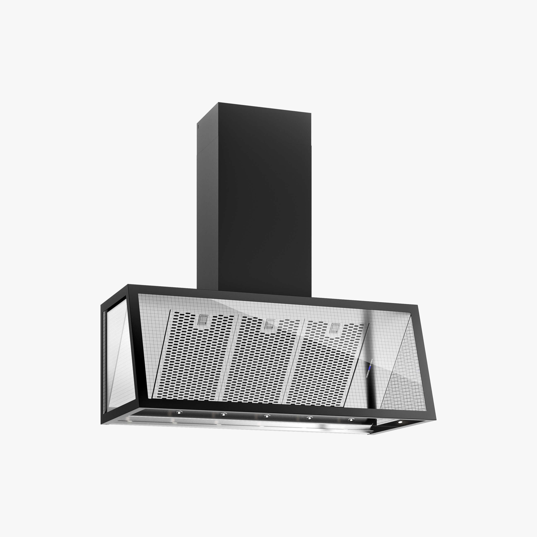 Produktbild på vägghängda köksfläkten Fasett i svart utförande från Fjäråskupan.