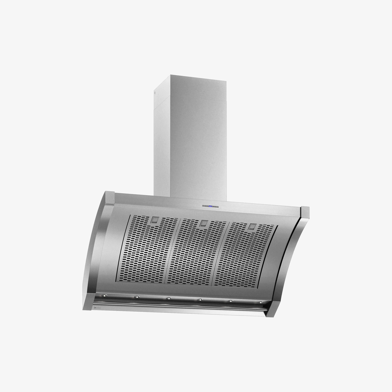 Produktbild på vägghängda köksfläkten Rustik i rostfritt utförande från Fjäråskupan.