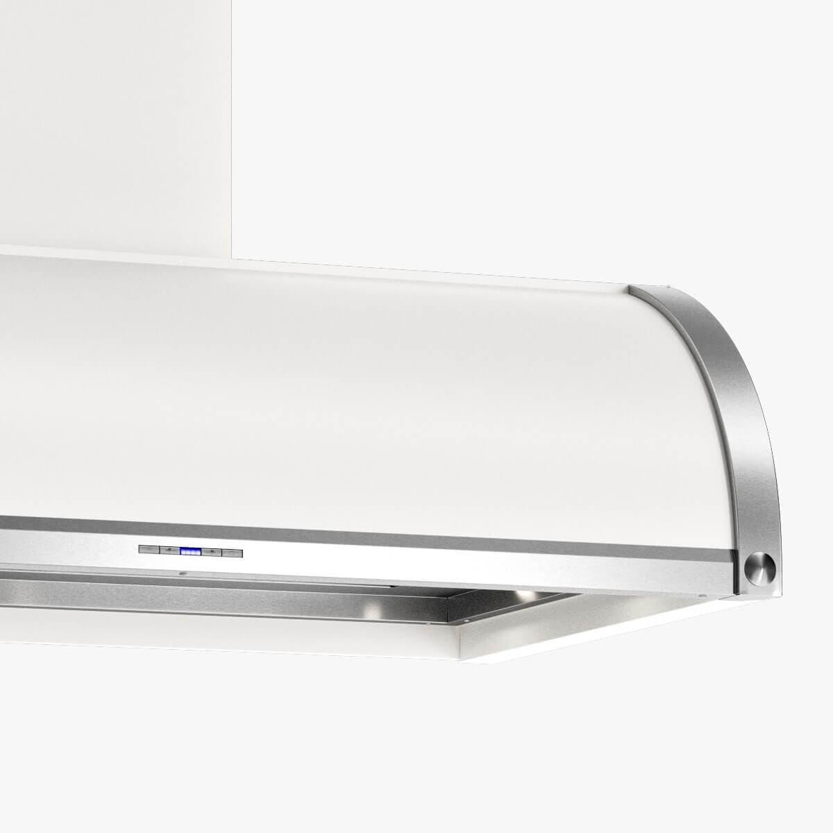 Detaljer på vägghängda köksfläkten Signatur i vitt med undersida och detaljer i rostfritt.
