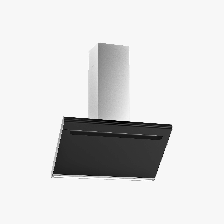 Produktbild på vägghängda köksfläkten Solo i svart utförande från Fjäråskupan.