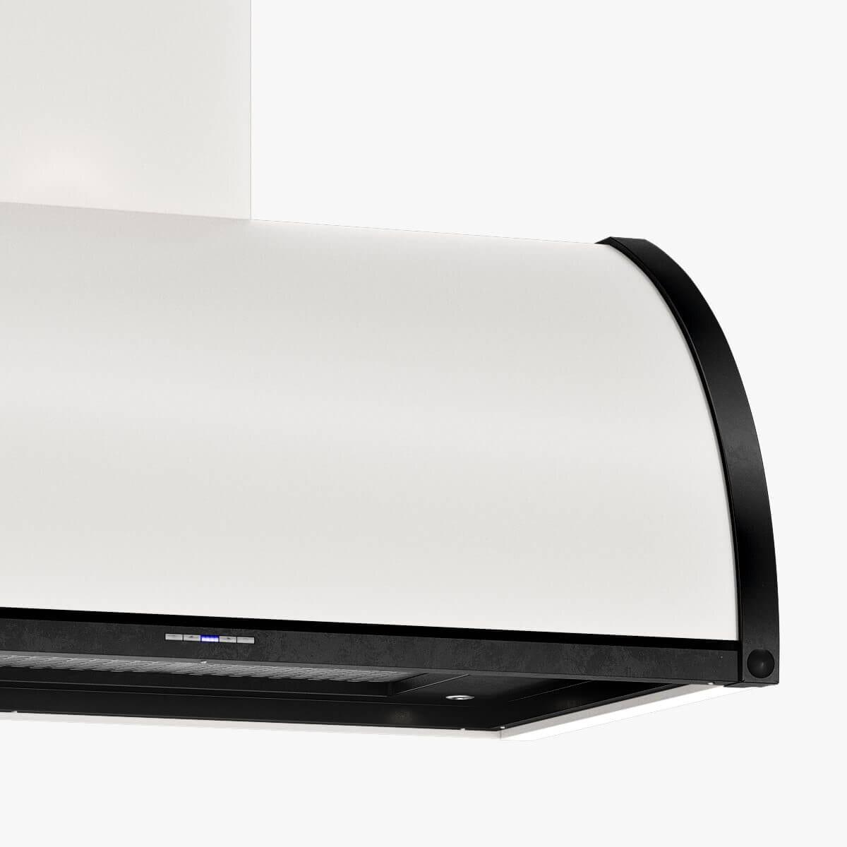 Detaljer på vägghängda köksfläkten Tradition i vitt med undersida och detaljer i svartoxiderad metall.