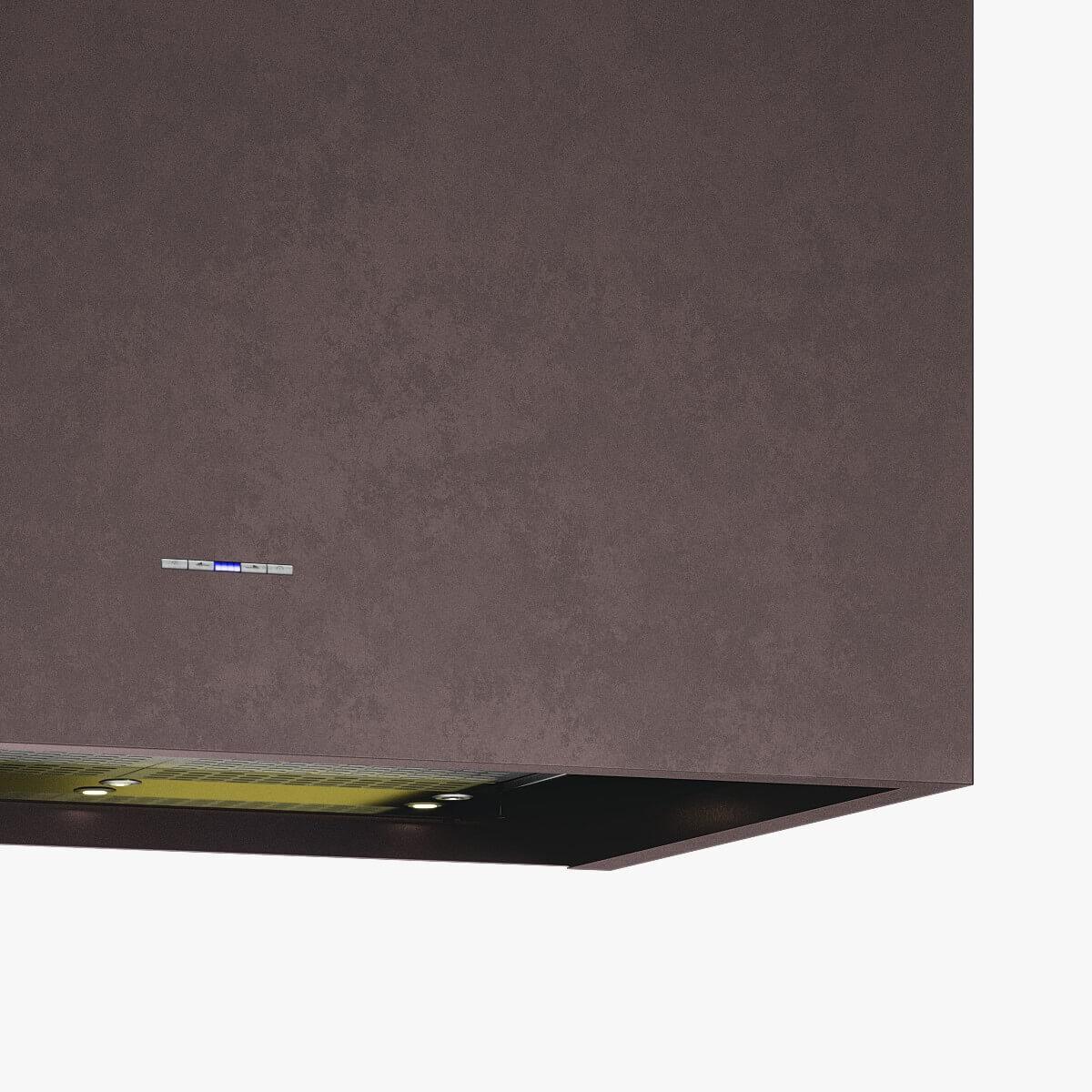 Detaljer på vägghängda köksfläkten Box i rödoxiderad metall.